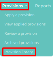 Provision library button