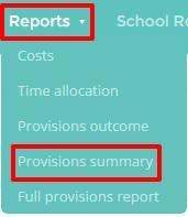 Provision summary button