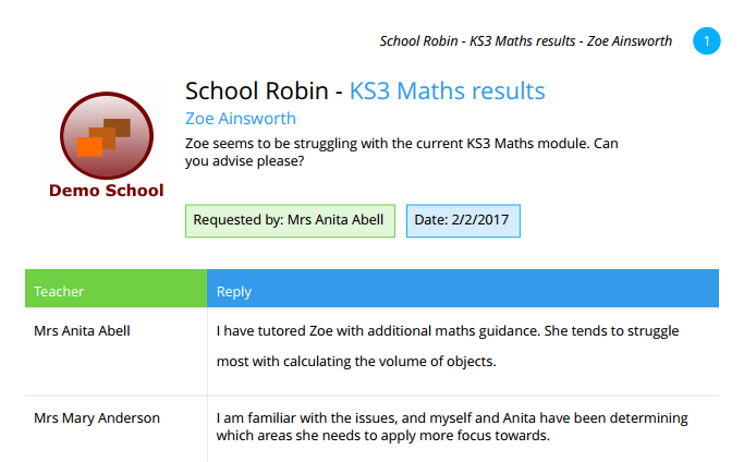 An example pdf school robin