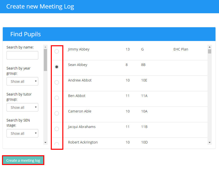 you will be presented to the screen shown below here you are able to give your meeting log a title a record of the meeting notes and specified date of